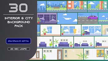30 Flat Interior and City Background Pack-33314305