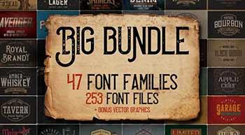 Inkydeals Big Vintage Fonts Bundle